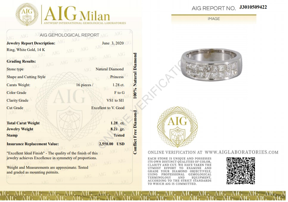 14 kt. White gold - Ring - 1.28 ct Diamond - Diamonds - Image 2 of 6