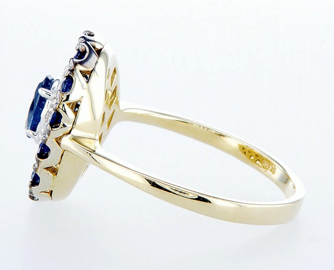 14 kt. White &Yellow gold - Ring - 1.25 ct Sapphire - Diamonds - Image 4 of 7