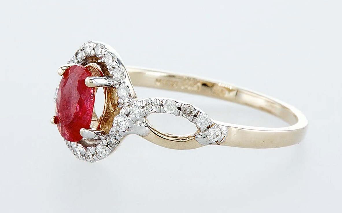 14 kt. White gold, Yellow gold - Ring - 0.59 ct Ruby - Diamonds - Image 3 of 6