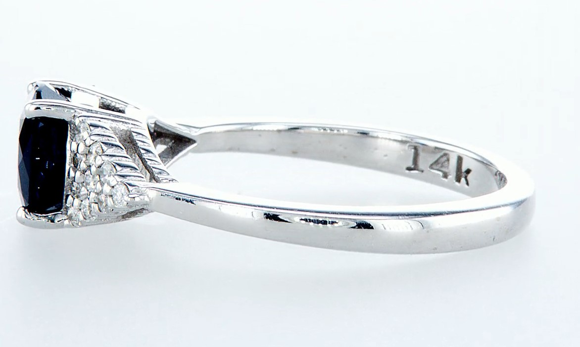 14 kt. White gold - Ring - 1.92 ct Sapphire - Diamonds - Image 4 of 6