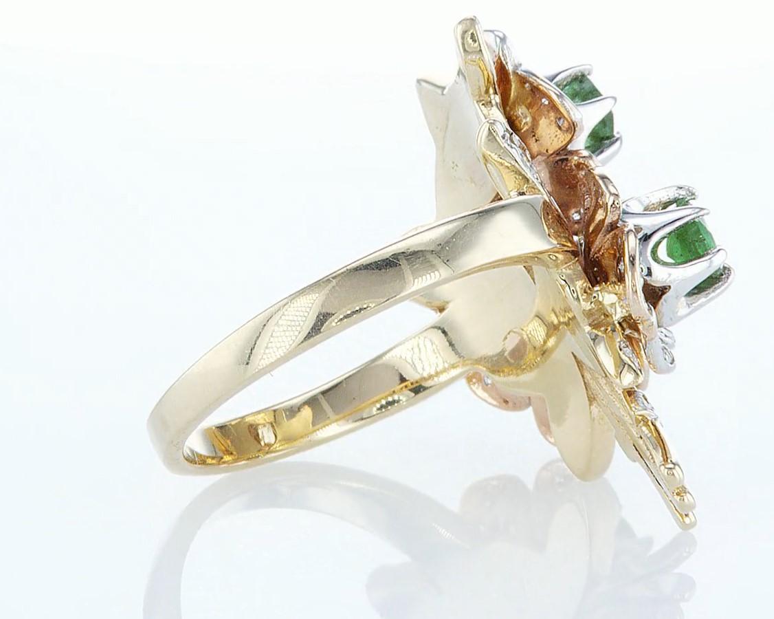14 kt. Yellow gold - Ring - 1.54 ct Emerald - Diamonds - Image 6 of 6