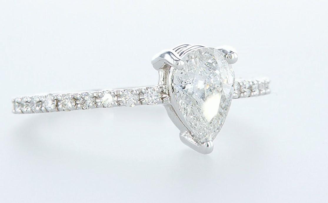 14 kt. White gold - Ring - 0.97 ct Diamond - Diamonds - Image 6 of 6