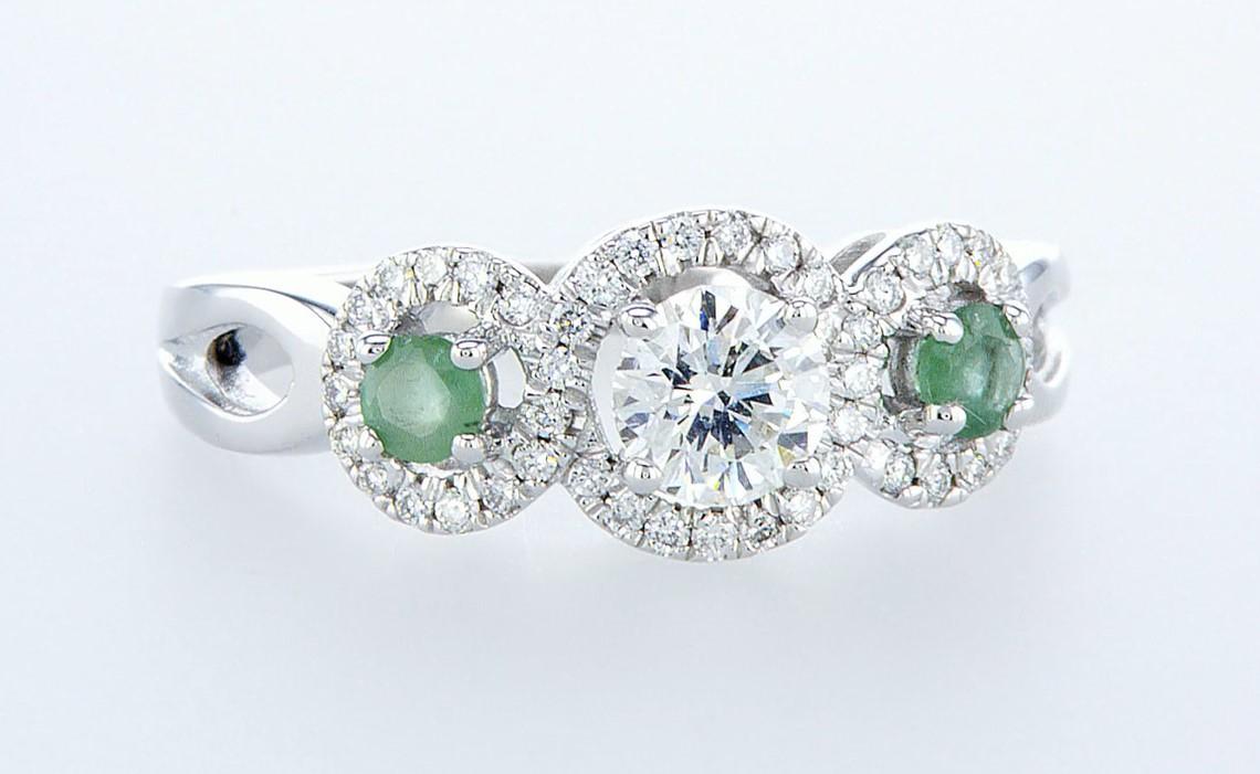 14 kt. White gold - Ring - 0.97 ct Emerald - Diamonds