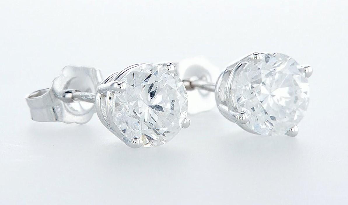 14 kt. White gold - Earrings - 2.00 ct Diamond - Diamonds