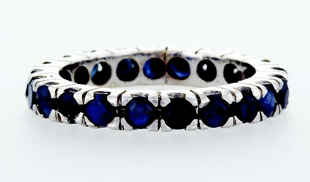 14 kt. White gold -Eternity Ring - 0.90 ct Sapphire - Image 4 of 4