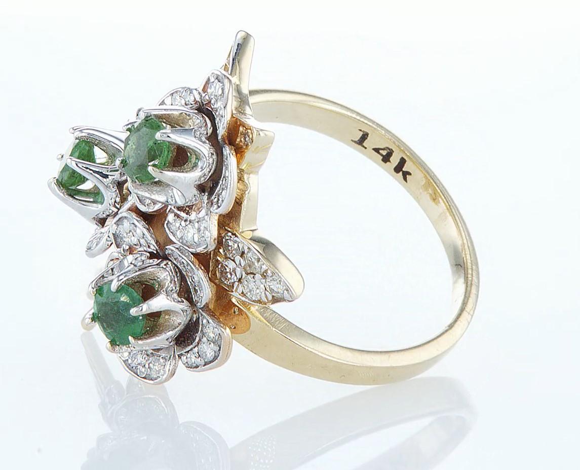 14 kt. Yellow gold - Ring - 1.54 ct Emerald - Diamonds - Image 4 of 6