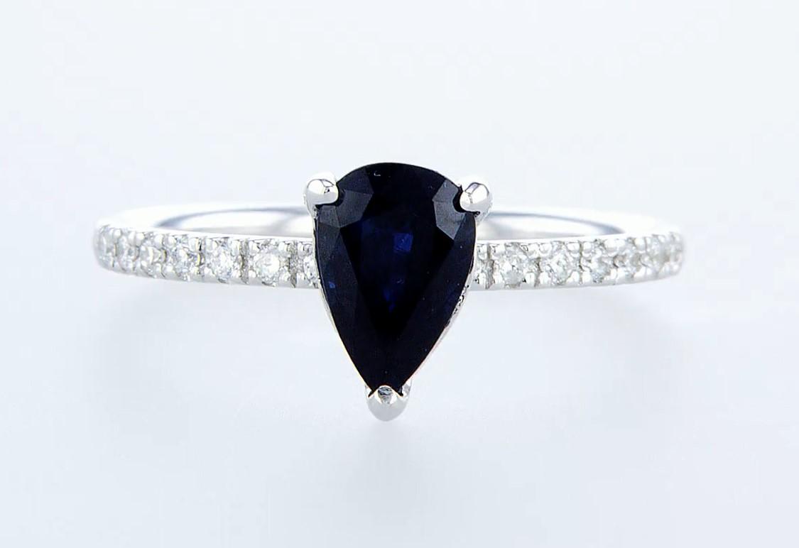 14 kt. White gold - Ring - 1.29 ct Sapphire - Diamonds