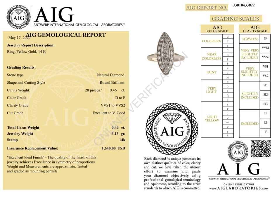 14 kt. Yellow gold - Ring - 0.46 ct Diamond - Diamonds - Image 2 of 7