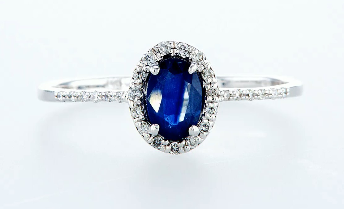 14 kt. White gold - Ring - 0.62 ct Sapphire - Diamonds - Image 3 of 7