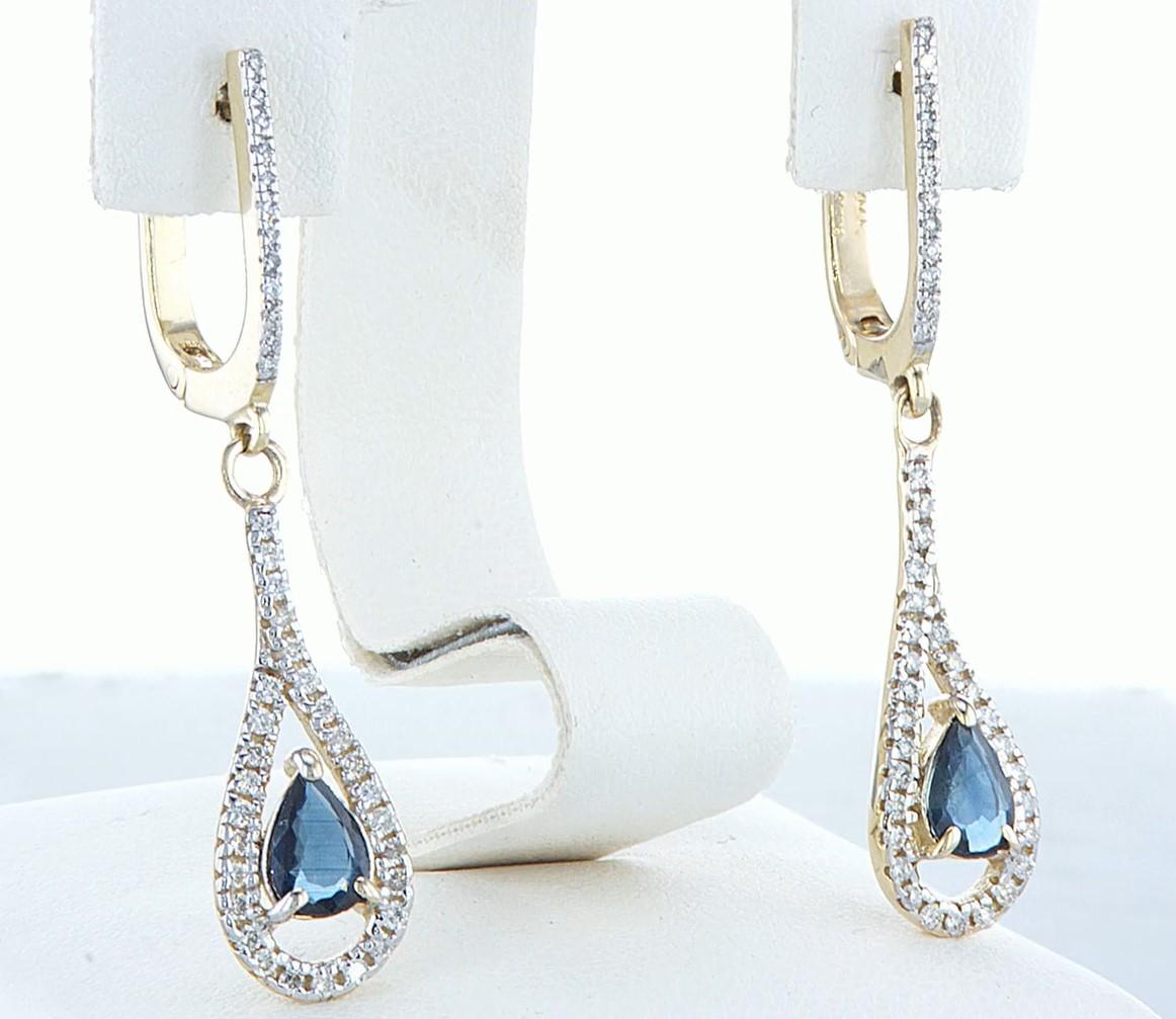 14 kt. White gold - Earrings - 1.20 ct Sapphire - Diamonds - Image 5 of 5