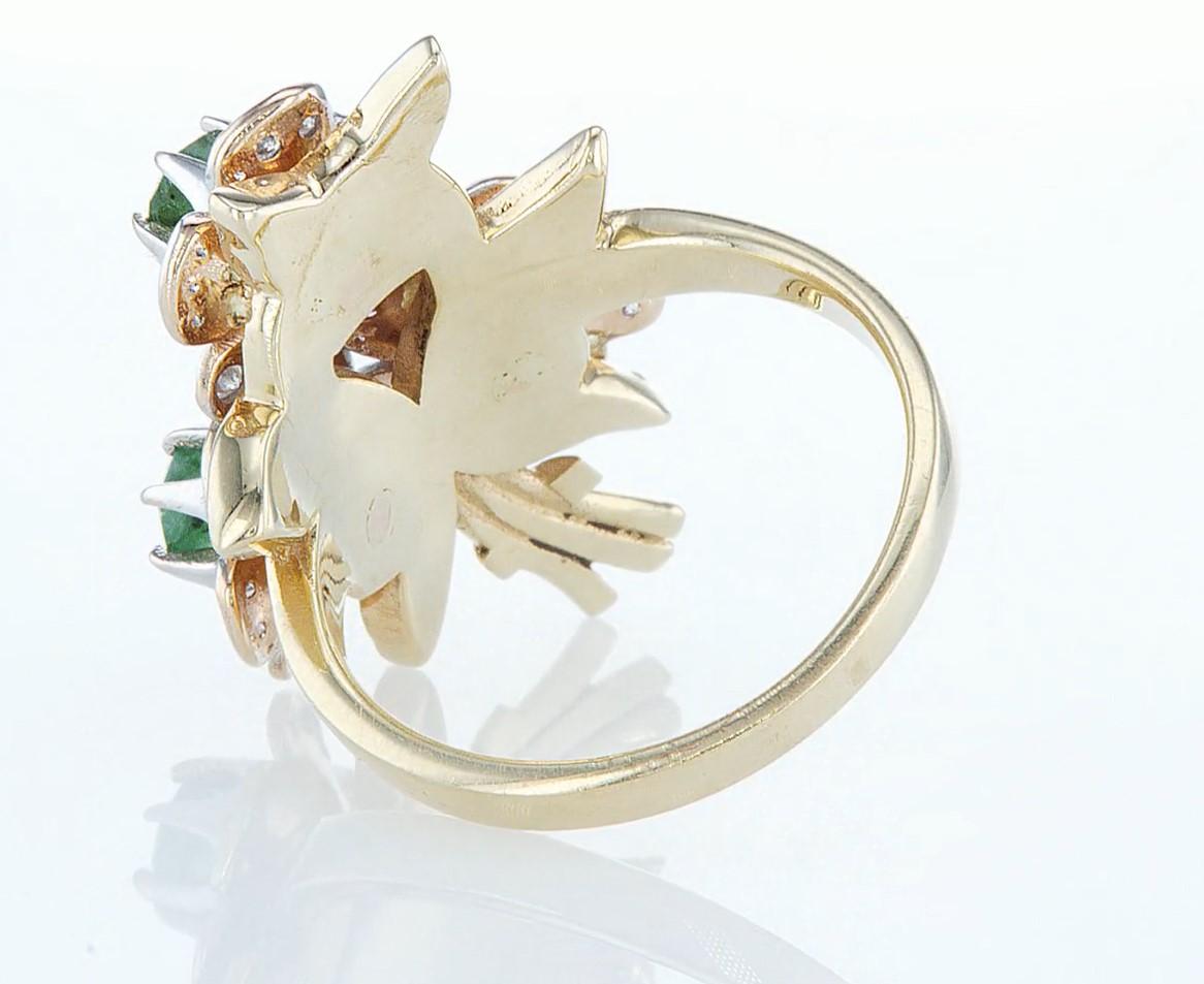 14 kt. Yellow gold - Ring - 1.54 ct Emerald - Diamonds - Image 5 of 6