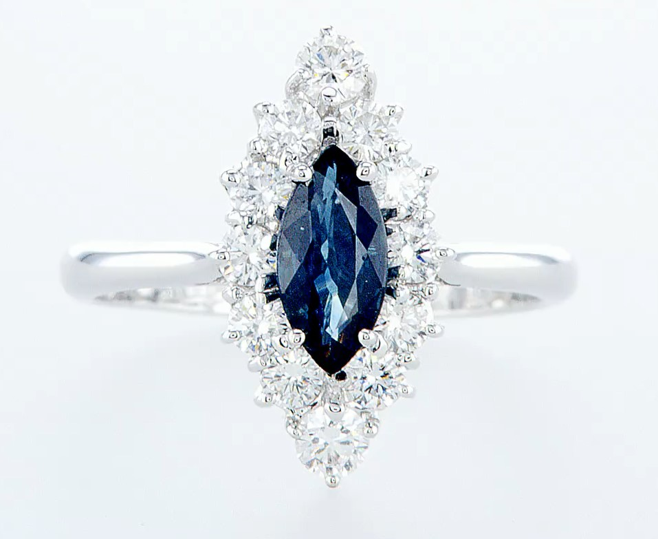 18 kt. White gold - Ring - 1.22 ct Sapphire - Diamonds
