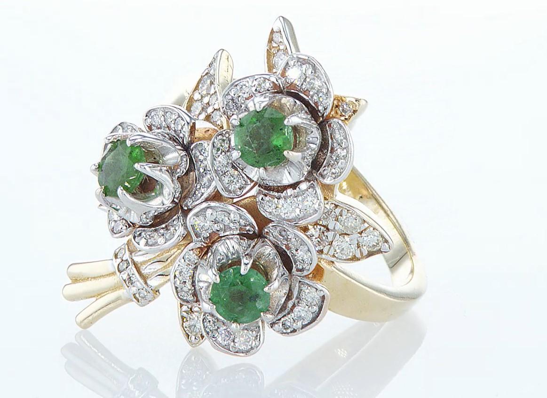 14 kt. Yellow gold - Ring - 1.54 ct Emerald - Diamonds - Image 3 of 6