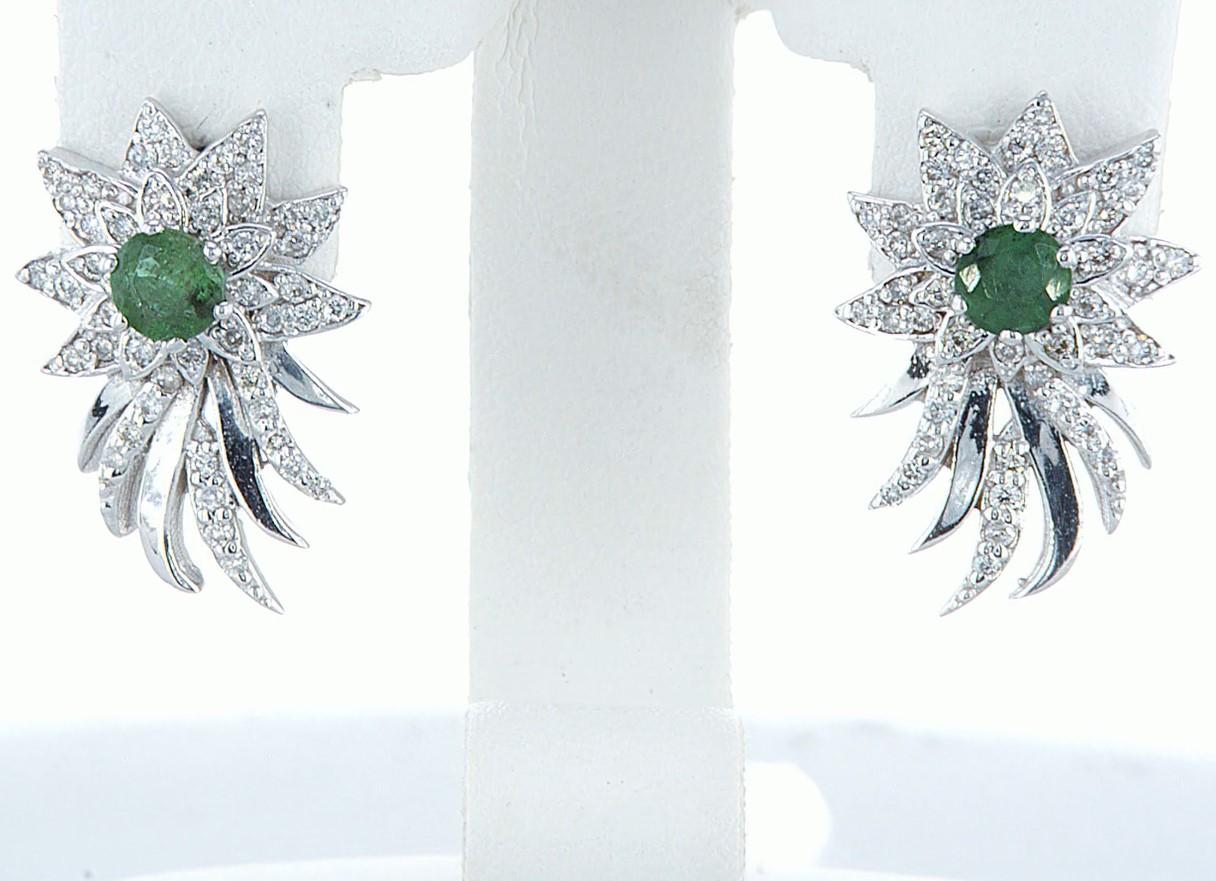 14 kt. White gold - Earrings - 1.00 ct Emerald - Diamonds - Image 6 of 6