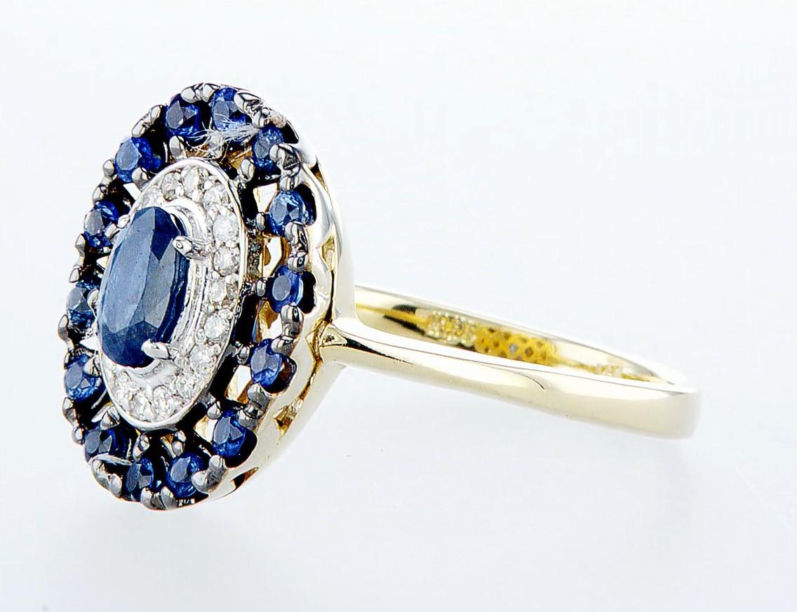14 kt. White &Yellow gold - Ring - 1.25 ct Sapphire - Diamonds - Image 3 of 7
