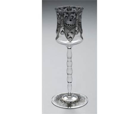 A J & L LOBMEYR SCHWARTZLOT ENAMELLED DECORATIVE WINE GLASS DESIGNED BY KARL MASSENETZ, 1913-14  with waisted bowl and gi