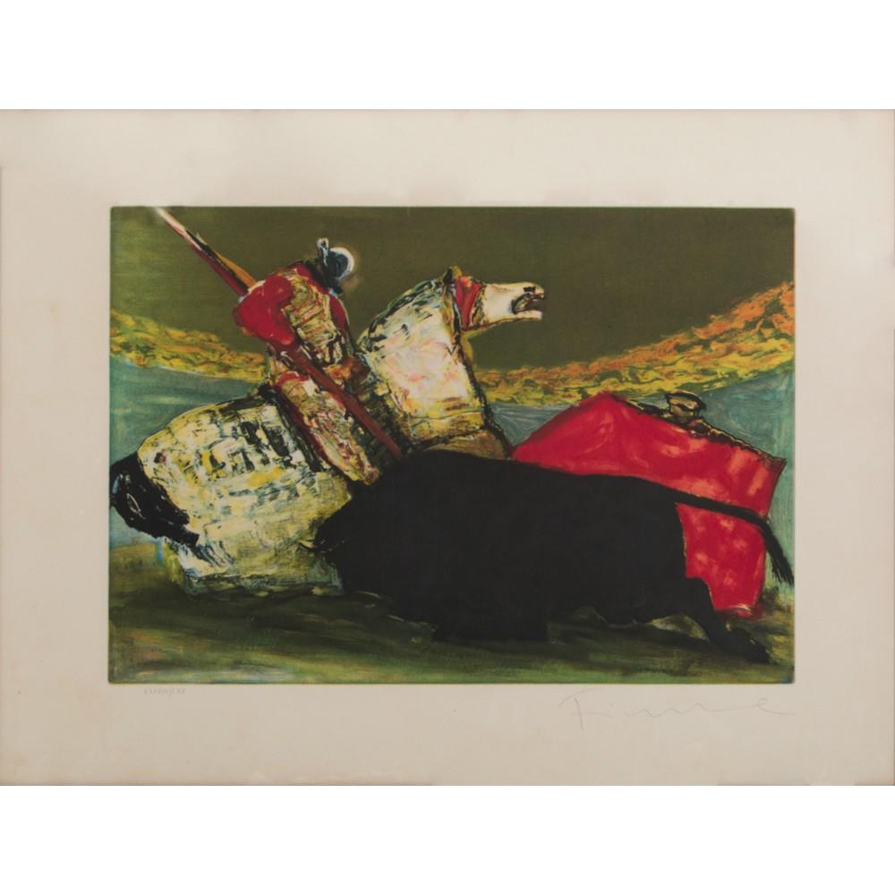 """Lot 18 - SALVATORE FIUME (Comiso 1915 - Milano 1997) LITOGRAFIA a colori """"La Corrida"""", esemplare XXXVIII/LXV."""
