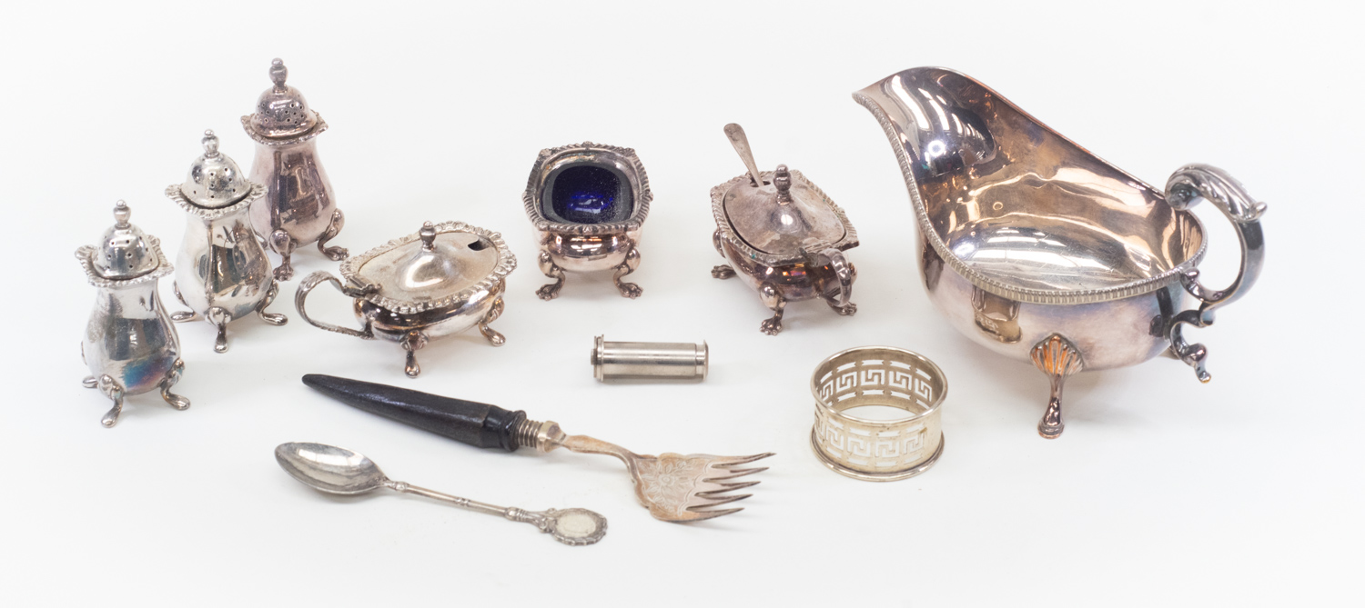 Lot 5 - Collection of plated items including table ware, sauce boat, peppers and salts (Q)