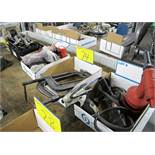 LOT OF C CLAMPS, RIVETER, ANGLE GRINDER, PNEUMATIC SANDING SUPPLIES, TOOLBOX W/TOOLS, INGERSOL