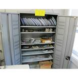 2 DOOR METAL STORAGE CABINET W/GRINDING WHEELS AND TOOLS