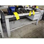 """STEEL WORK BENCH W/6"""" VISE, (3' X 6' APPROX)"""
