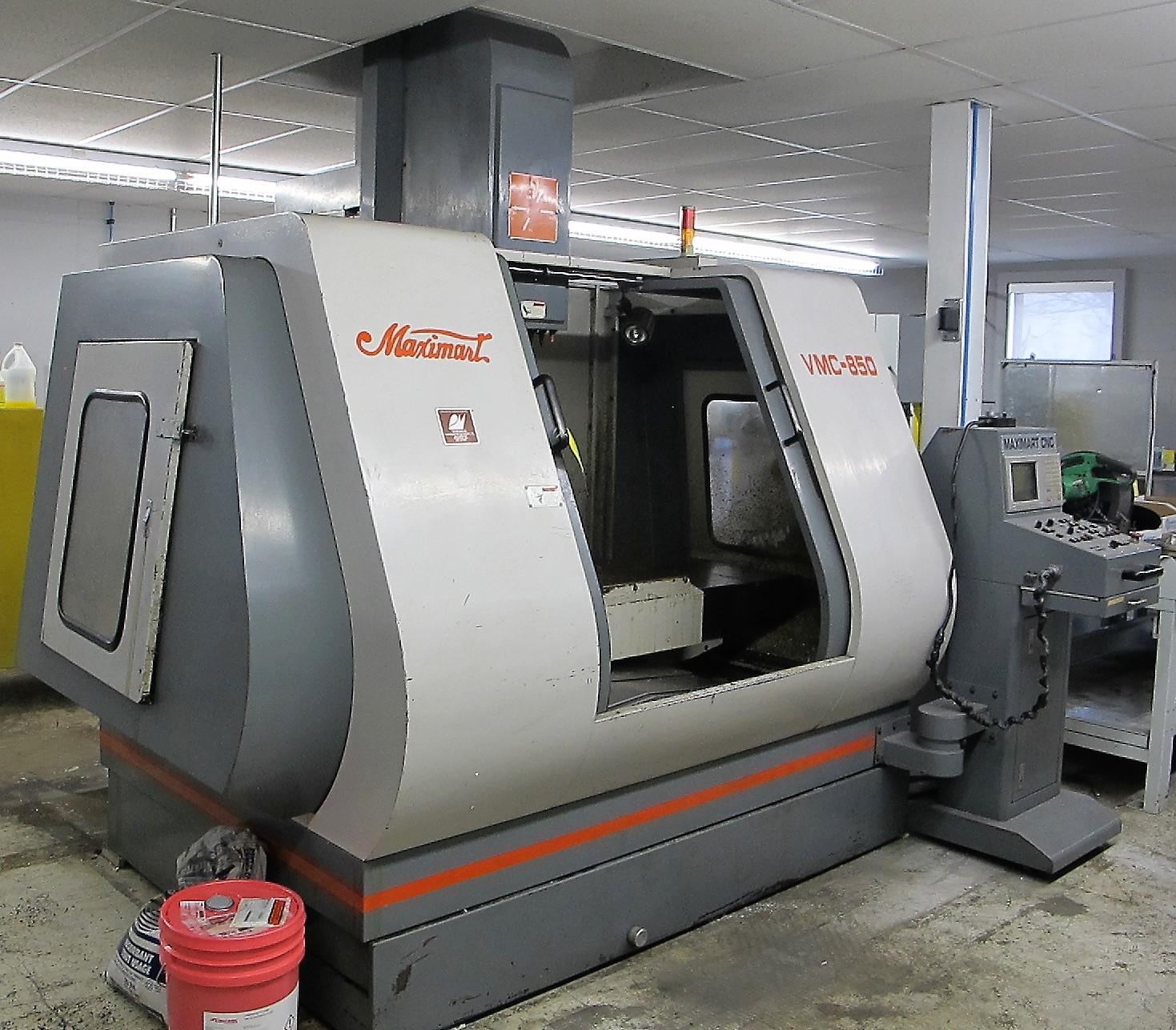 "MAXIMART VMC-850 CNC VERTICAL MACHINING CENTER, 20-ATC, MITSUBISHI CONTROL, 18"" X 39"" TABLE, 3"" - Image 7 of 10"