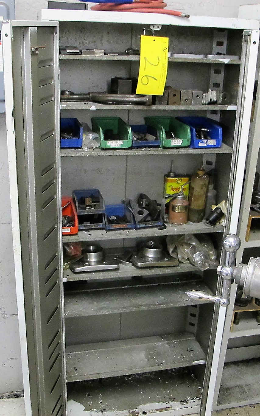 SHAFIER TOOL CABINET W/HOLD DOWNS, SCREWS AND CONTENTS W/TOOL HOLDER SHELVING UNIT