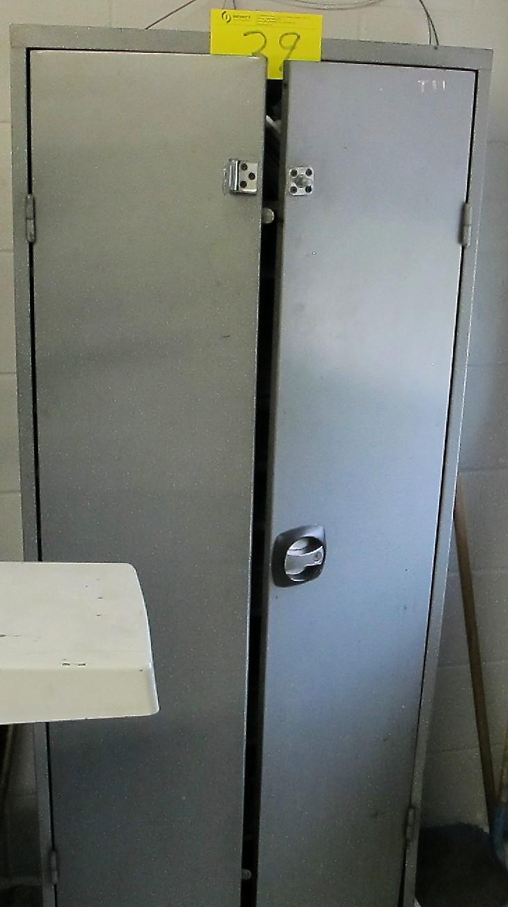 2 DOOR METAL STORAGE CABINET W/GRINDING WHEELS AND TOOLS - Image 2 of 2