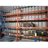 """LOT OF 2 SECTIONS OF PALLET RACKING W/CAGE INSERT SHELVES (10'W X 12'T X 42""""D PER SECTION)"""