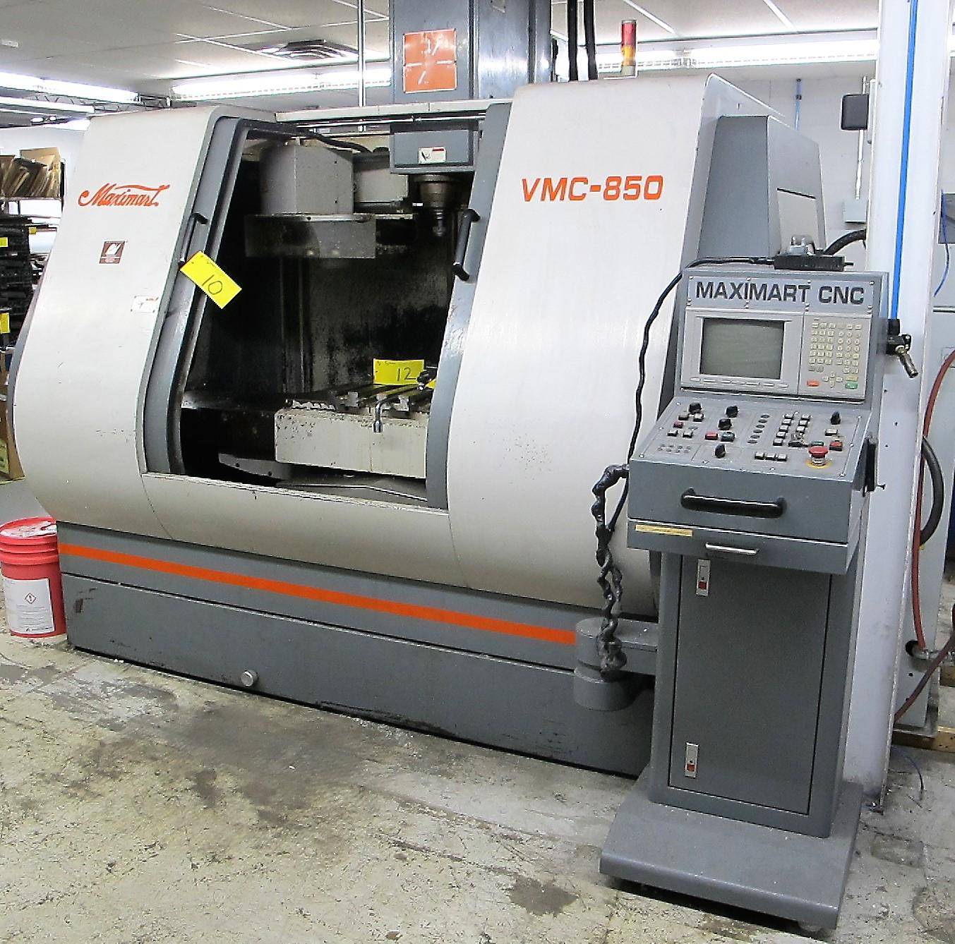 "MAXIMART VMC-850 CNC VERTICAL MACHINING CENTER, 20-ATC, MITSUBISHI CONTROL, 18"" X 39"" TABLE, 3"""