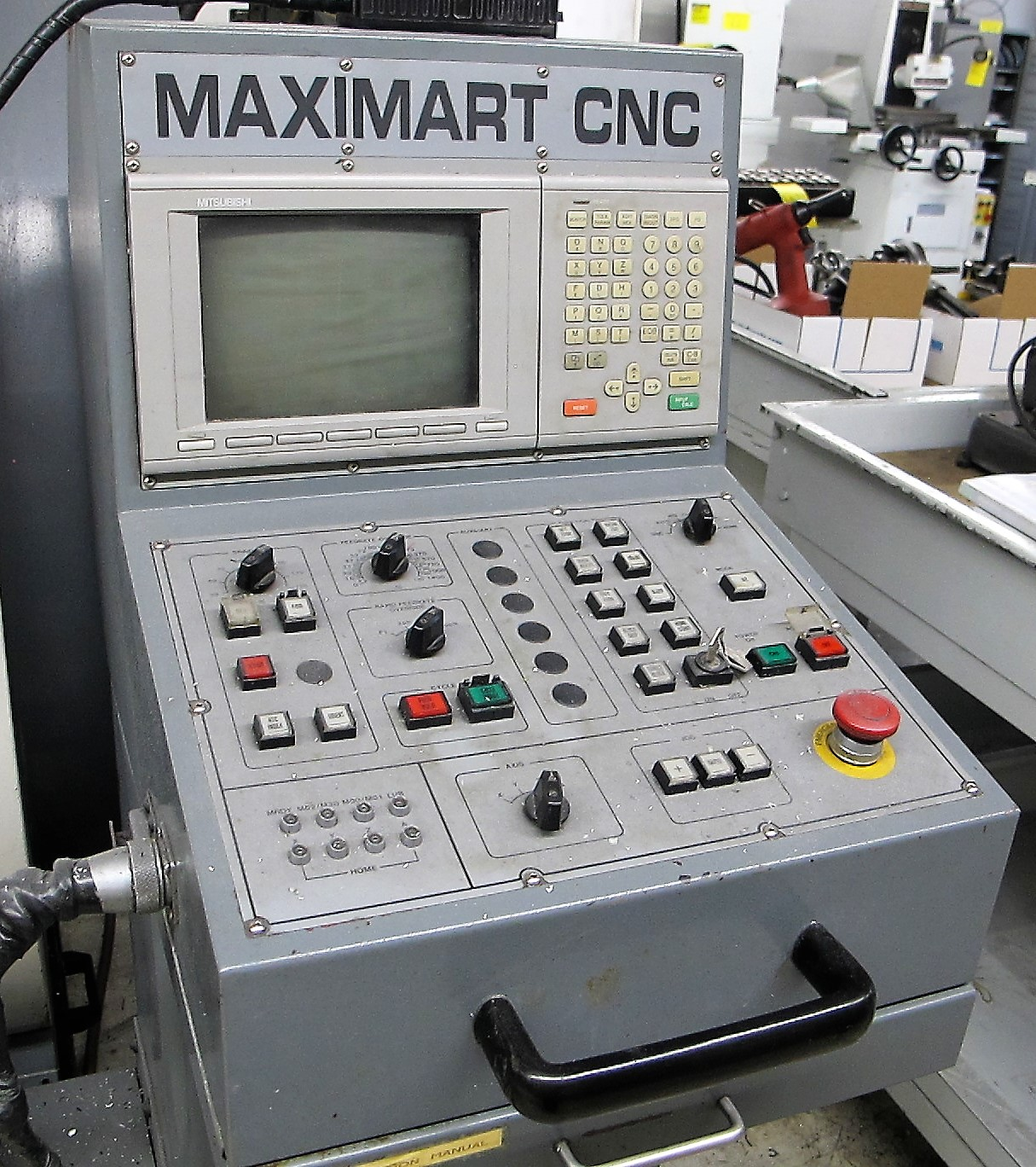 "MAXIMART VMC-850 CNC VERTICAL MACHINING CENTER, 20-ATC, MITSUBISHI CONTROL, 18"" X 39"" TABLE, 3"" - Image 2 of 10"