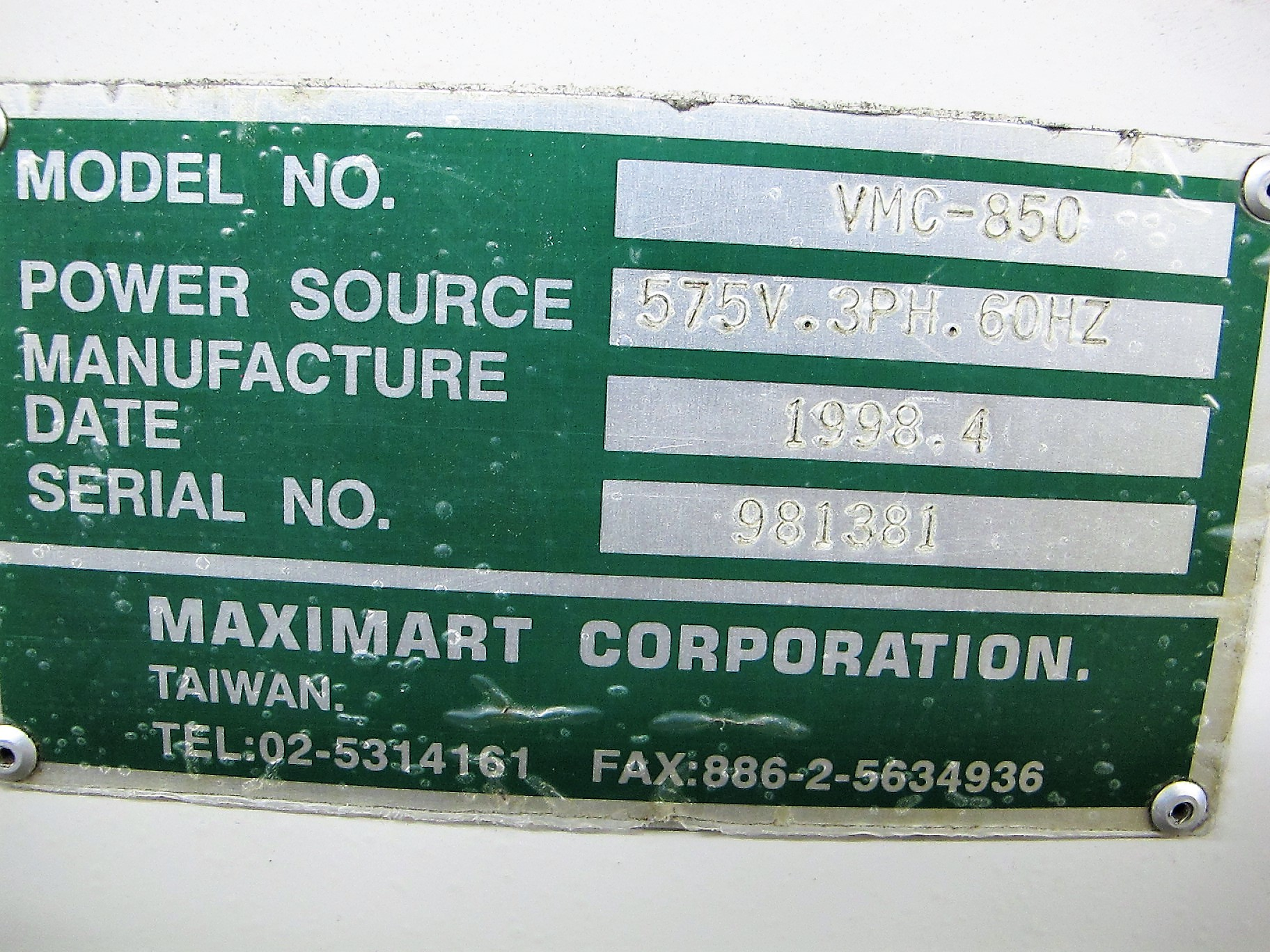 "MAXIMART VMC-850 CNC VERTICAL MACHINING CENTER, 20-ATC, MITSUBISHI CONTROL, 18"" X 39"" TABLE, 3"" - Image 10 of 10"