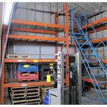 """LOT OF 1 SECTIONS OF PALLET RACKING W/CAGE INSERT SHELVES (8'W X 12'T X 42""""D PER SECTION)"""