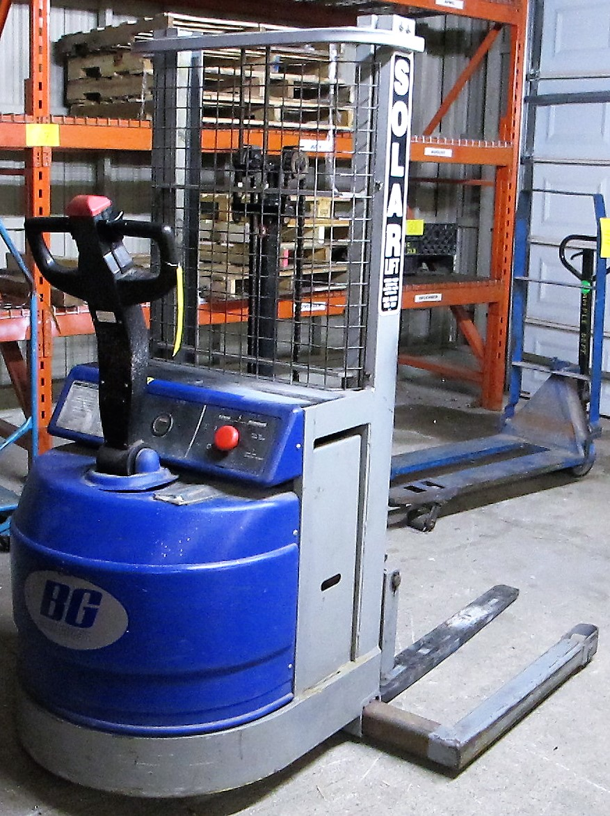"""BLUE GIANT, BGS-90 ELECTRIC STACKER, 1500 LB CAP, 90"""" LIFT, 2 STAGE, S/N 04-30010"""