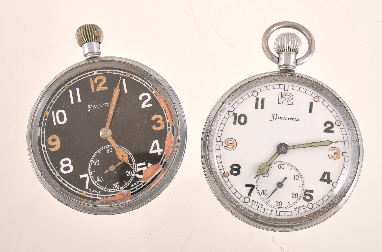 Lot 41 - Helvetia,Base metal open face keyless wind military pocket watch