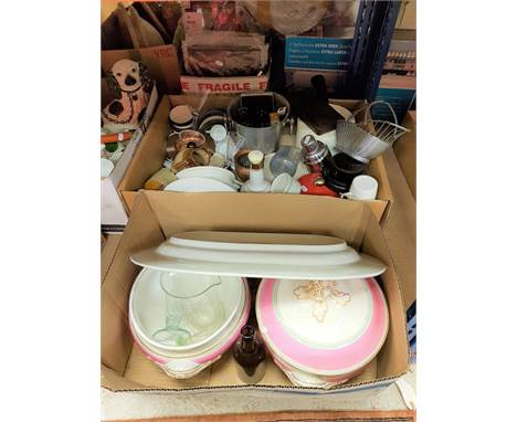Two boxes of various china, glassware and metal wares etc to include Barnicott & Banfield serving platter and pair of tur