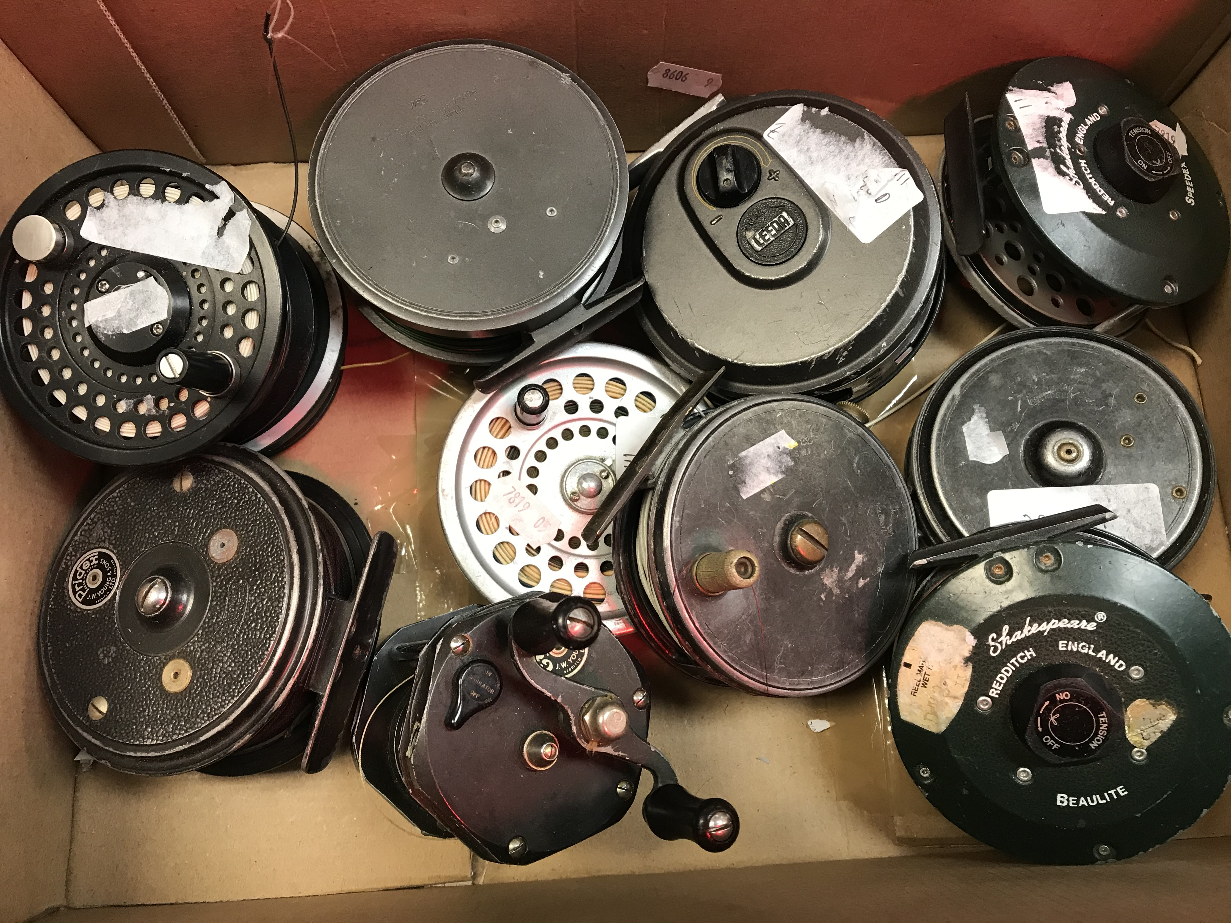 """Lot 50A - A collection of fly reels and one multiplying reel to include a Hardy """"Hydra"""" 3¾"""" fly reel,"""