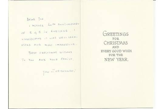 P/O Jan Zurakowski Christmas card inscribed and signed by Polish ...