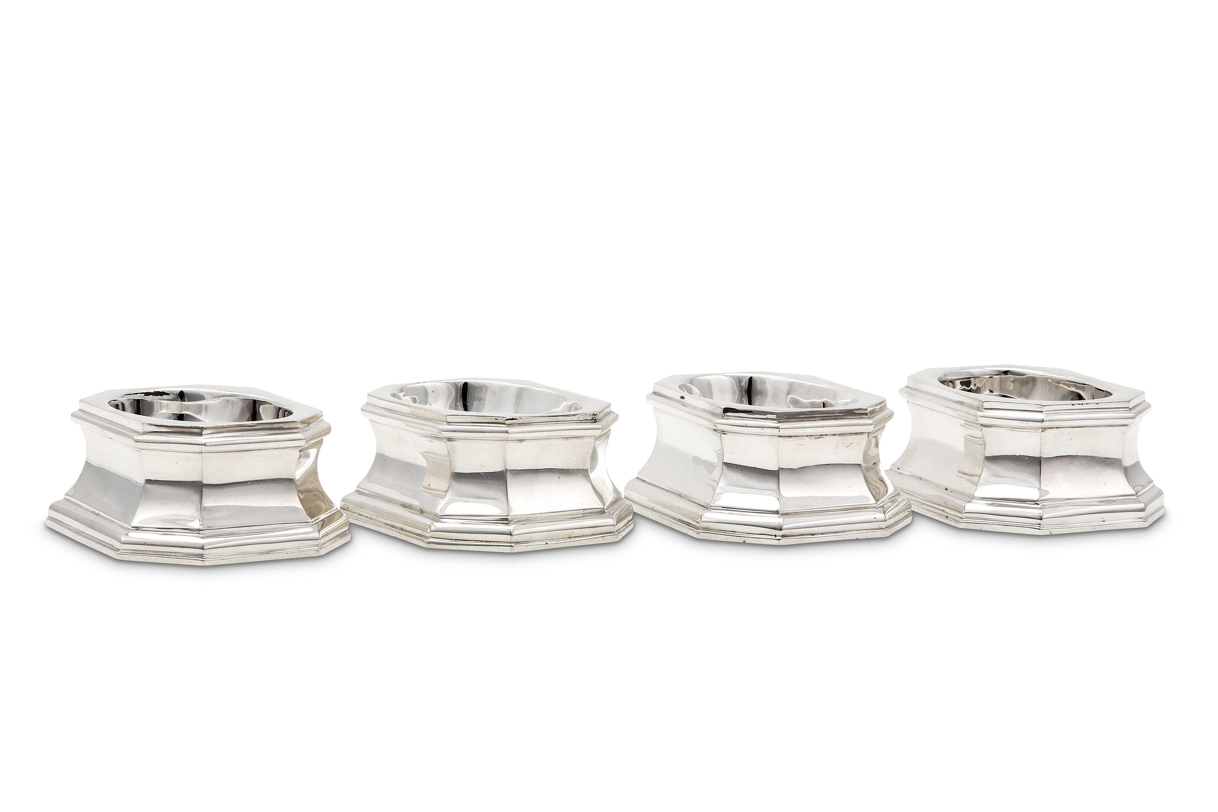 Lot 38 - A set of four George V Britannia standard silver trencher salts, London 1927 by Lionel Alfred Cricht