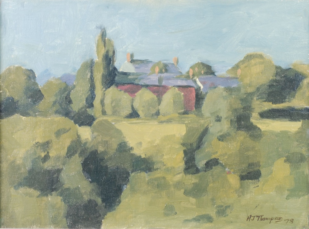 Lot 226 - ALAN JAMES THOMPSON OIL PAINTING ON CANVAS LAID DOWN 'Landscape, Gee Cross, Hyde' Signed lower right