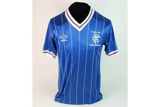 670539945cf A blue Rangers v. Celtic 1983-84 Scottish League Cup final short-sleeved  shirt No.2, with v-neck