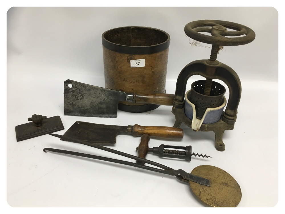 Lot 57 - A WOODEN GALLON MEASURE, A COLLECTION OF