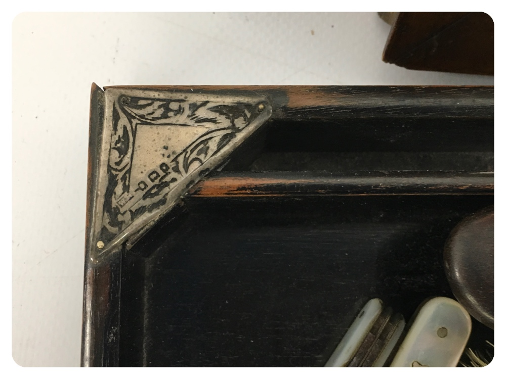 Lot 49 - EBONIZED TRAY WITH SILVER MOUNTS TO CORN