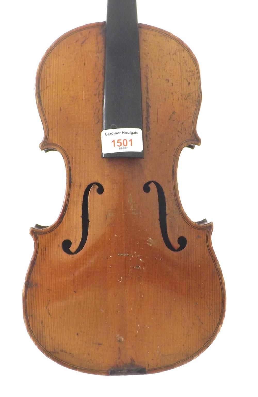 French violin labelled Fini Sous la Direction de Caressa & Francais, Luthiers du Conservatoire, 4,