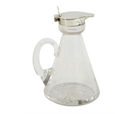 A George V silver and glass whisky noggin, conical form with star cut base, S Blackensee and Son, Birmingham 1922, 11cm high