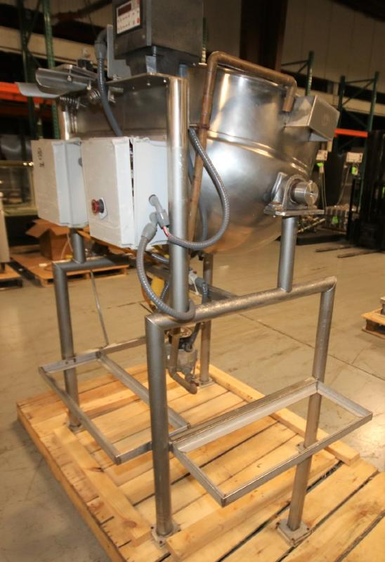 Burkhard Aprox. 70 Gal. S/S Jacketed Tilting Kettle, SN 9466 56N T75, with Pneumatic Tilt, Mounted - Image 5 of 7