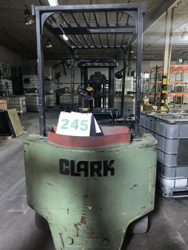 Lot 245 - Clark Heavy duty 8000 pound Sit Down Forklift Truck battery operated and fully operational No