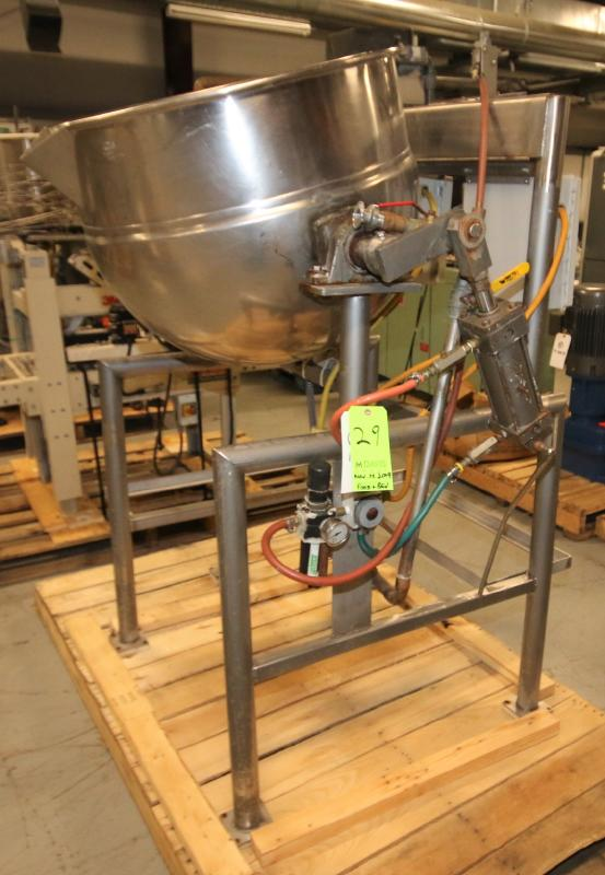 Burkhard Aprox. 70 Gal. S/S Jacketed Tilting Kettle, SN 9466 56N T75, with Pneumatic Tilt, Mounted - Image 4 of 7