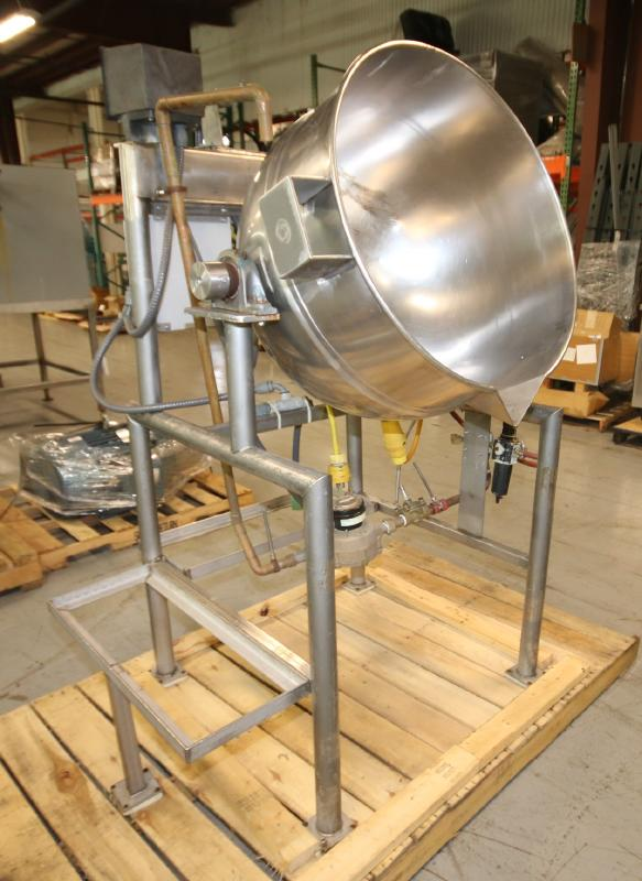 Burkhard Aprox. 70 Gal. S/S Jacketed Tilting Kettle, SN 9466 56N T75, with Pneumatic Tilt, Mounted - Image 3 of 7