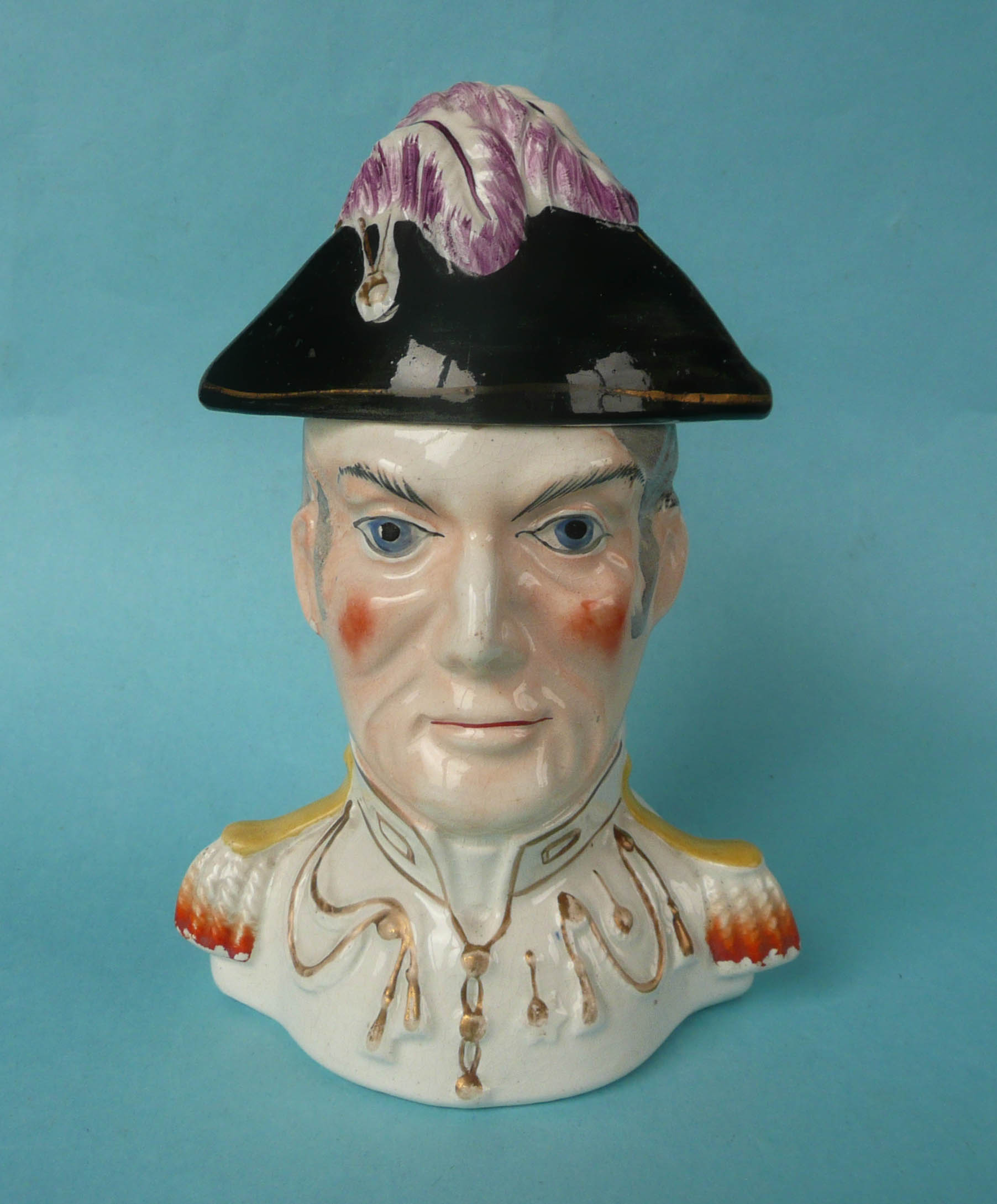 Lot 25 - Wellington: a Staffordshire pottery jar and cover modelled as a portrait bust depicted in uniform,